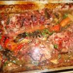 Muschi de porc cu legume la cuptor