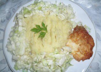 Piure de cartofi cu snitel de pui si salata de varza