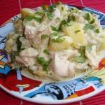 Piept de pui cu cartofi in sos alb