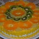 Retete de Pasti: Tort cu branza si fructe exotice
