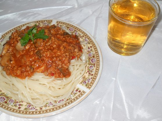 Spaghete cu soia si ciuperci