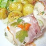 Rulouri din piept de pui cu cascaval, bacon si mozzarella