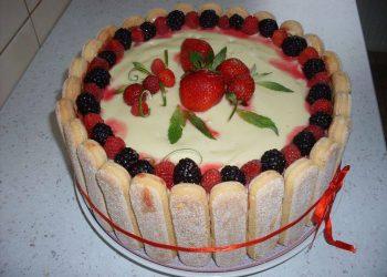 Tort cu crema din iaurt, frisca si fructe