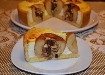 Tartă cu brânză si mere umplute