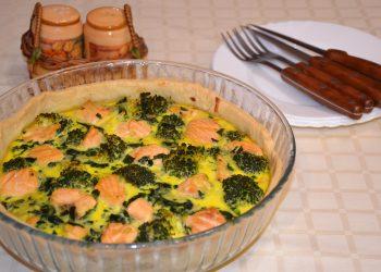 Quiche cu somon broccoli si spanac