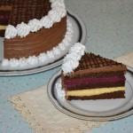 Tort de ciocolata cu mure si piersici