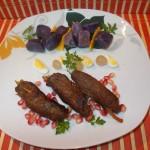 Rulouri din carne de struț cu legume si garnitura purple majesty – cartofi violeti