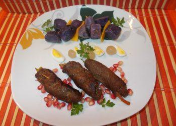 Rulouri din carne de struț cu legume si garnitura purple majesty - cartofi violeti