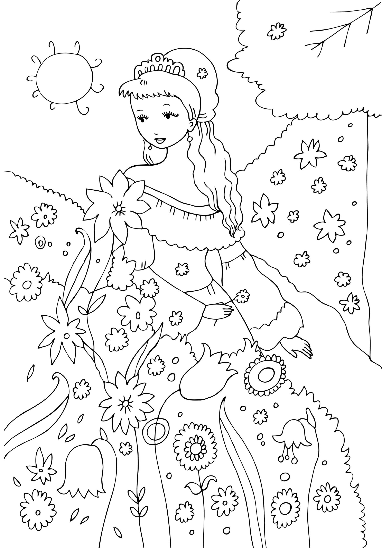 De Colorat   Printesa In Gradina    Sfatulparintilor Ro Desene De