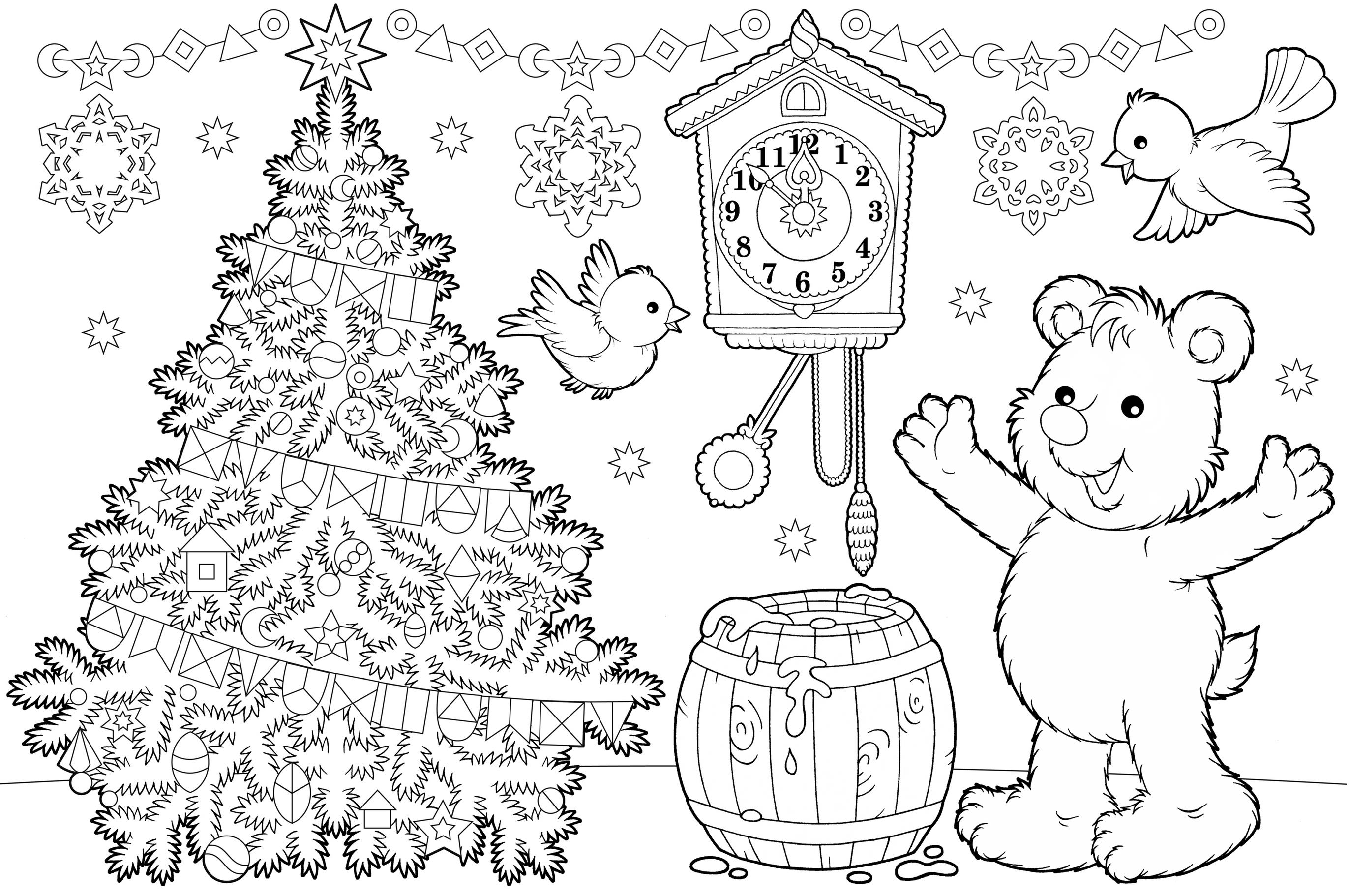 sfatulparintilor.ro, planse colorat, ursuletul de craciun