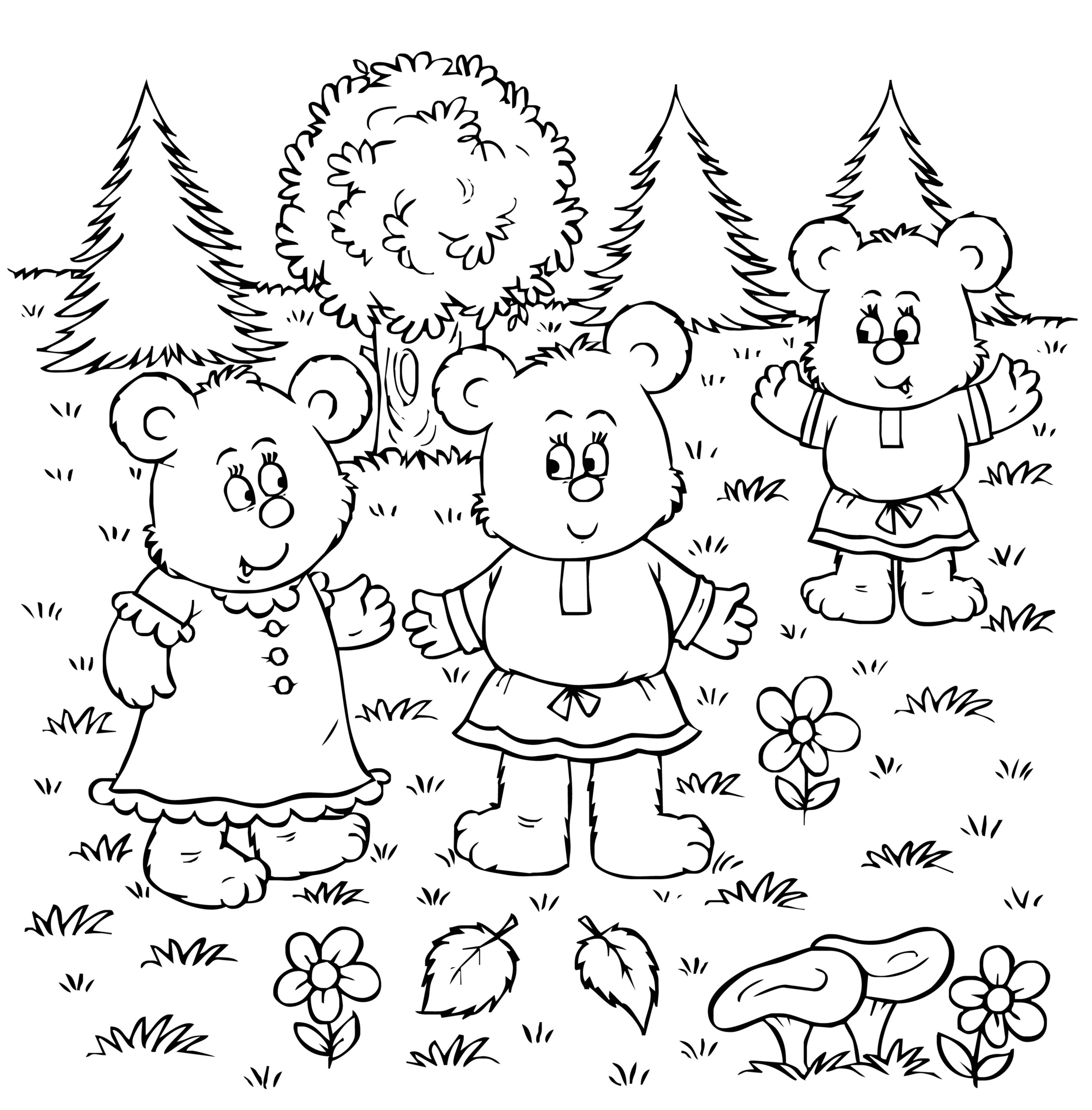 sfatulparintilor.ro, planse de colorat, cei trei ursuleti