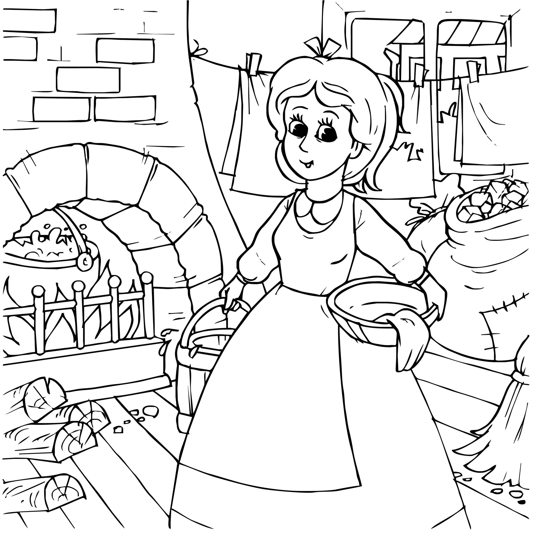 Planse De Colorat Cenusareasa Cea Harnica In Casa Mamei