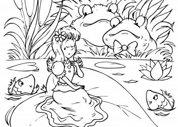 sfatulparintilor.ro, planse de colorat, degetica pe o frunza de nufar