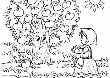 sfatulparintilor.ro, desene de colorat, fata mosului cea harnica si pomul roditor