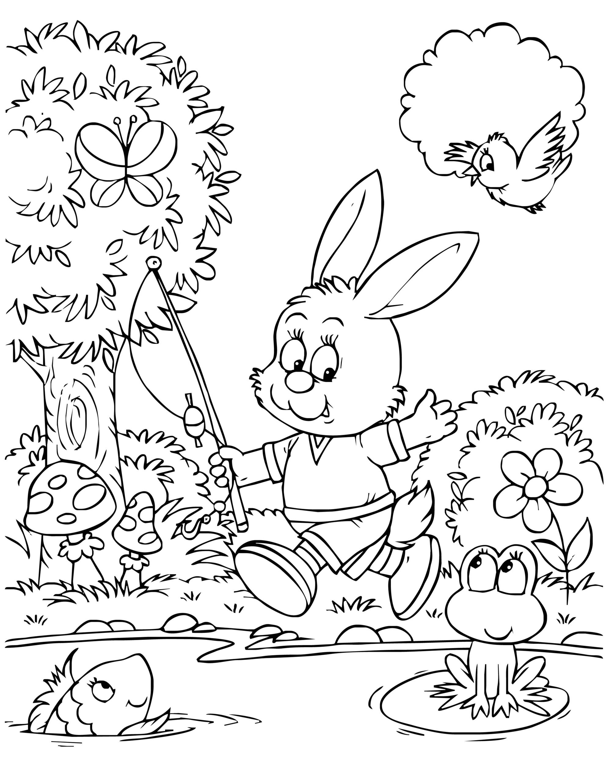 sfatulparintilor.ro, desene de colorat, iepurasul pescar