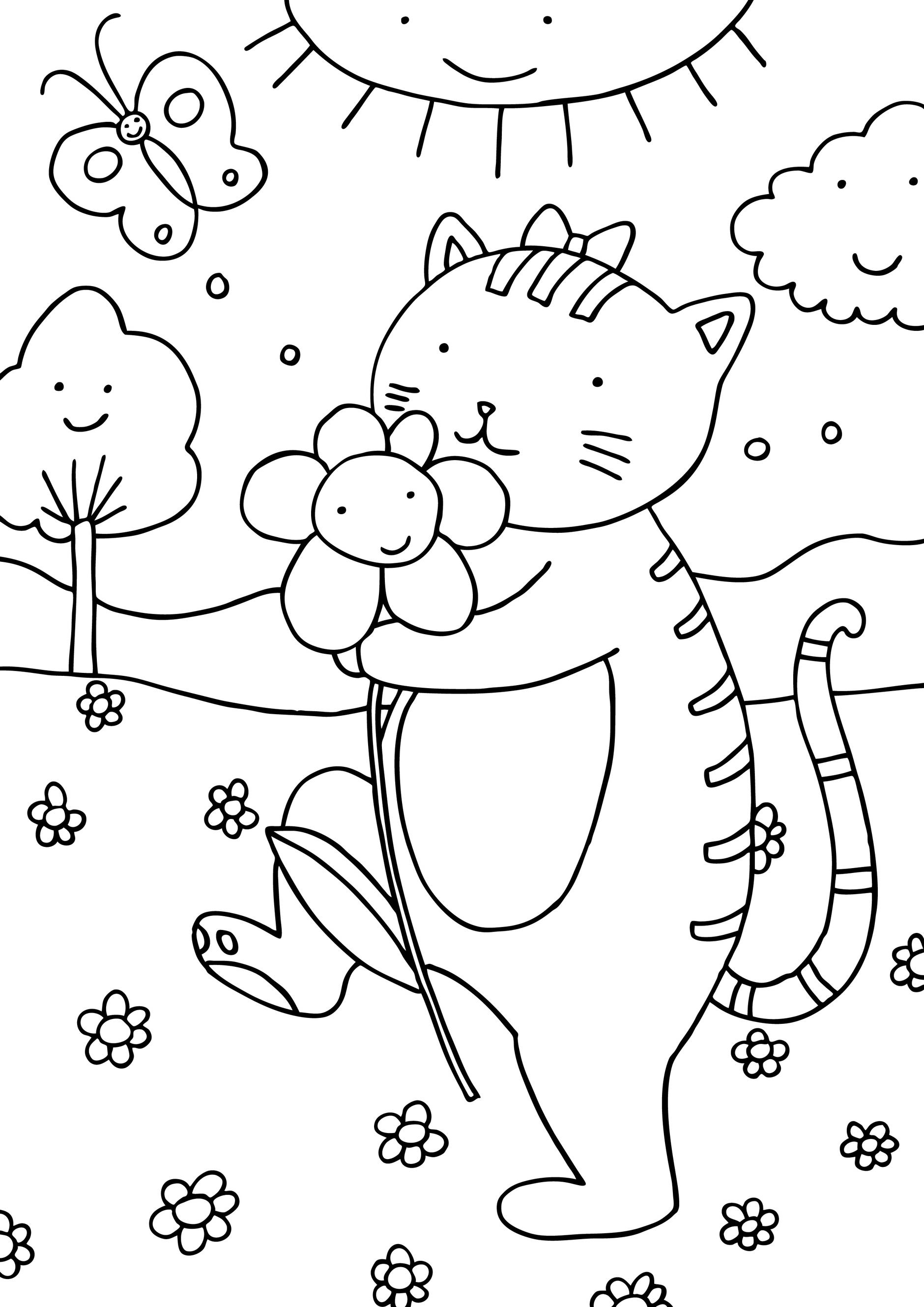 sfatulparintilor.ro, desene colorat, pisicuta la plimbare