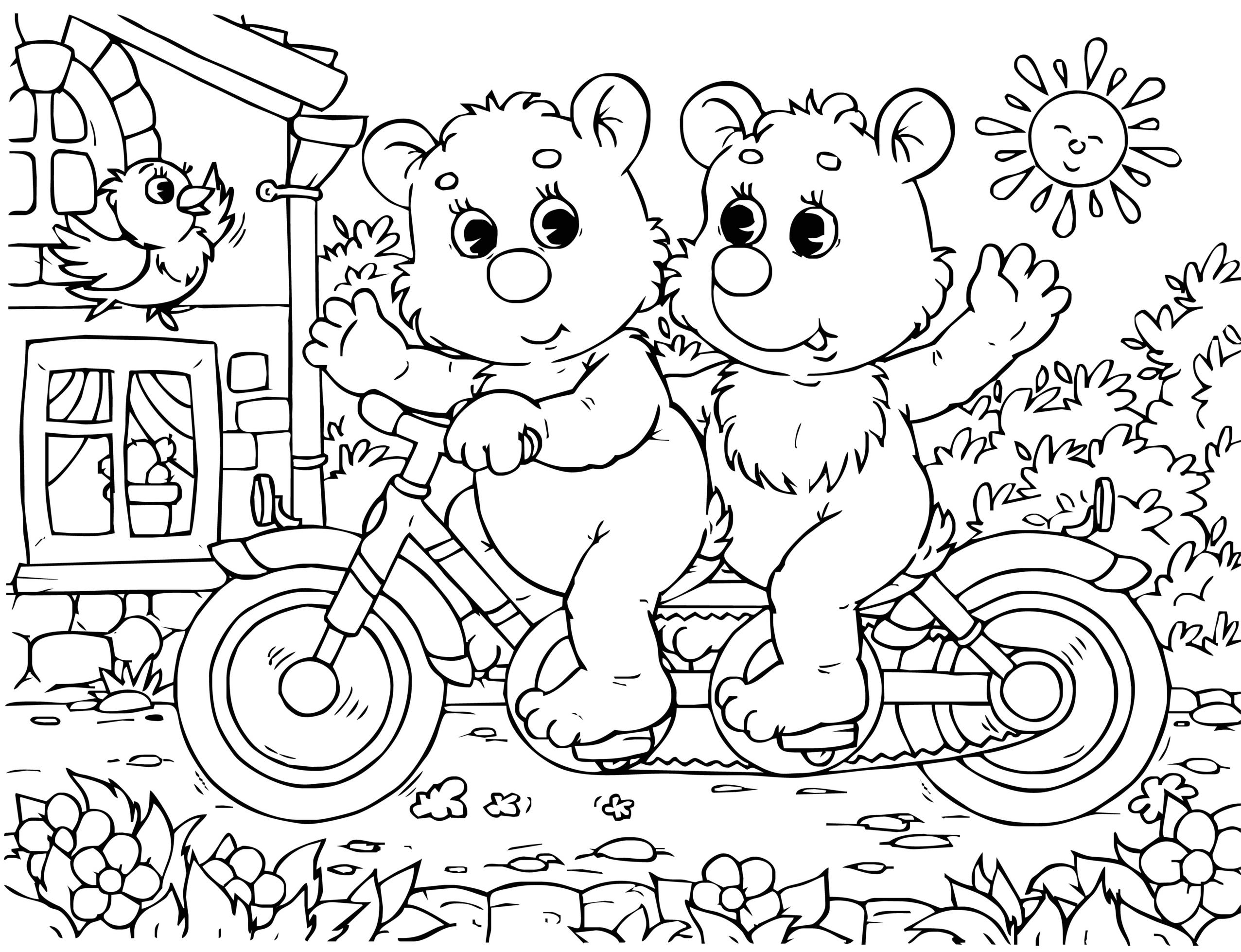 sfatulparintilor.ro_planse de colorat_doi ursuleti comici pe bicicleta