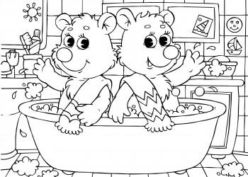 sfatulparintilor.ro_planse de colorat_doi ursuleti comici fac baie