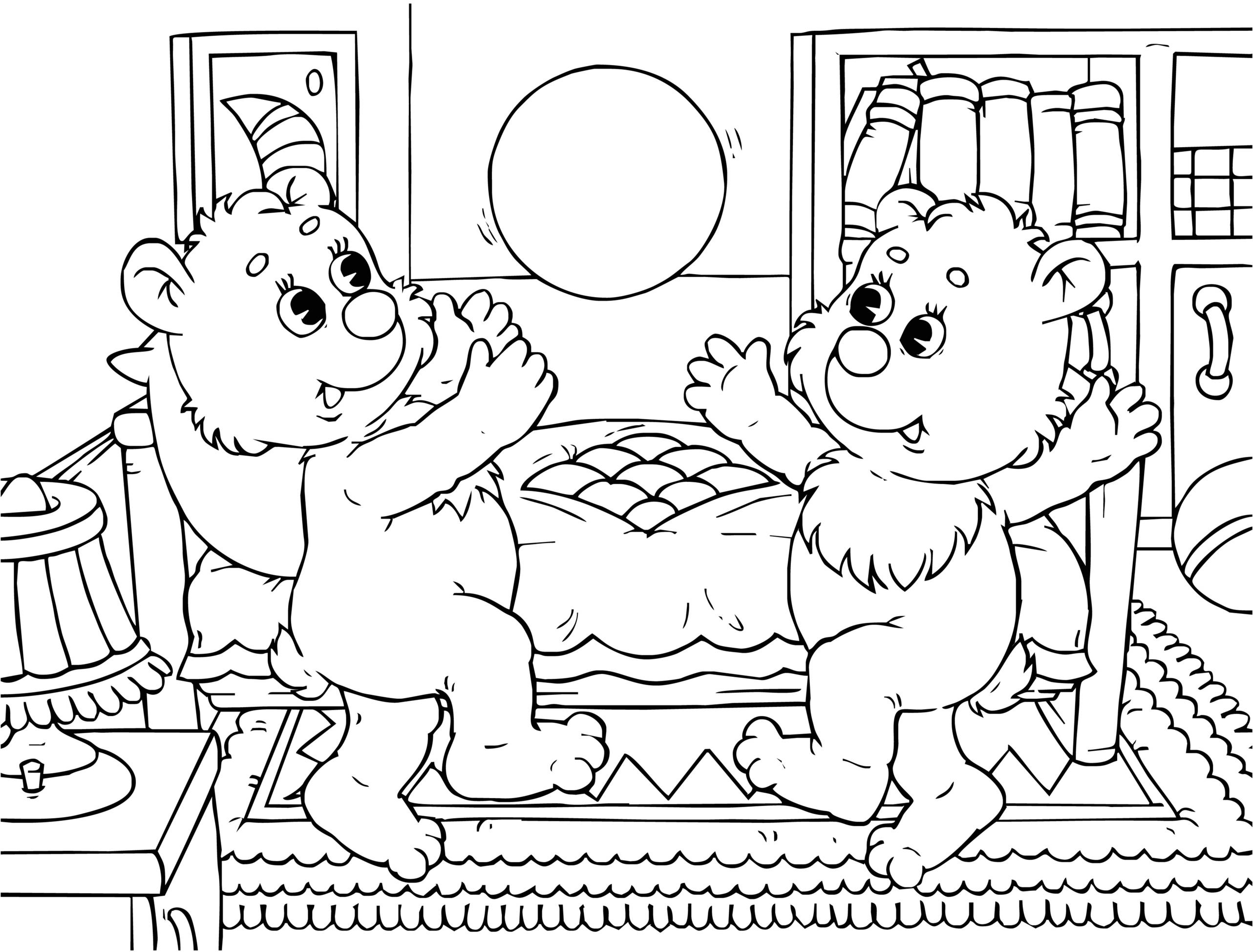 Planse De Colorat Doi Ursuleti Comici Joaca Volei