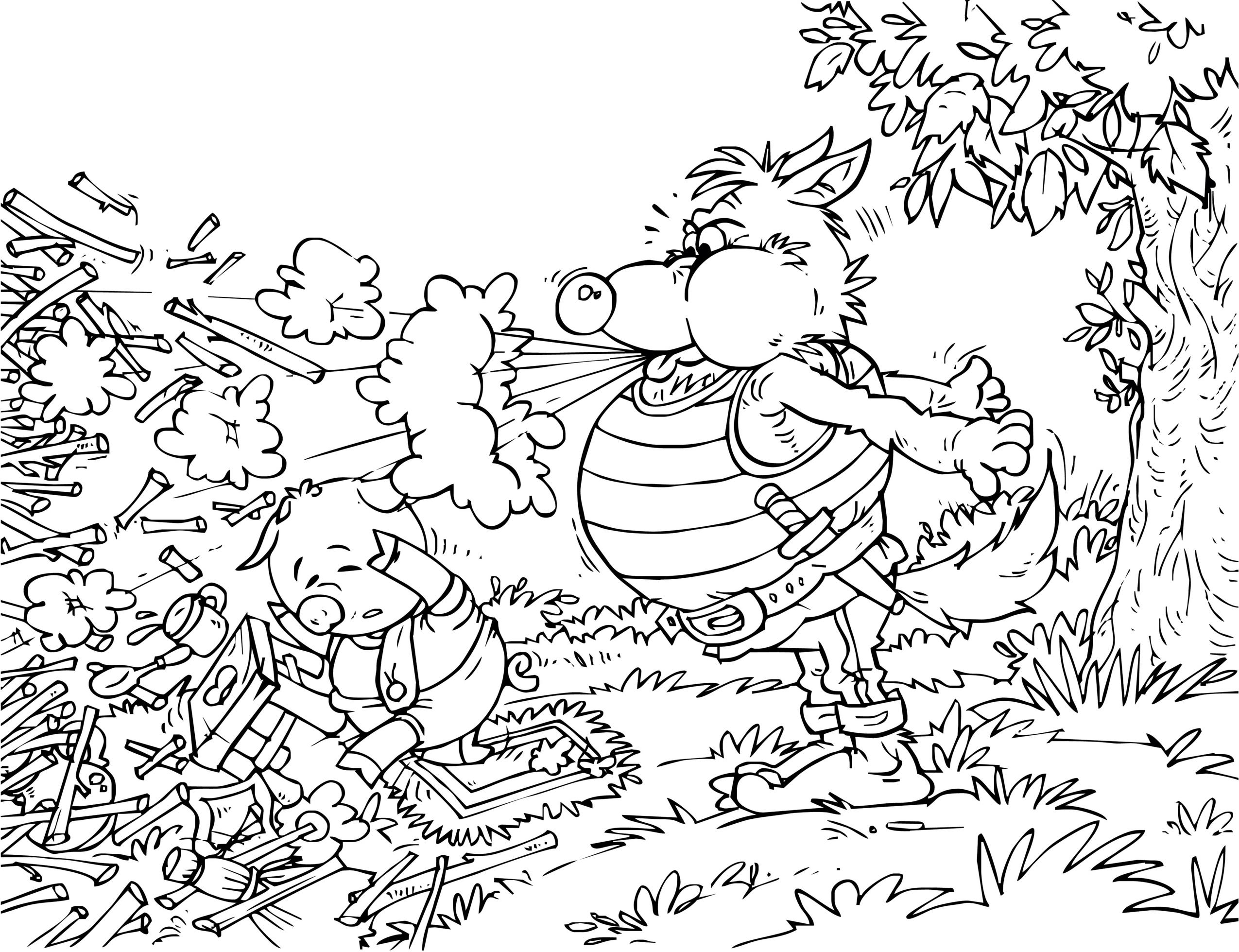 sfatulparintilor.ro, desene colorat, cei trei purcelusi si lupul cel rau