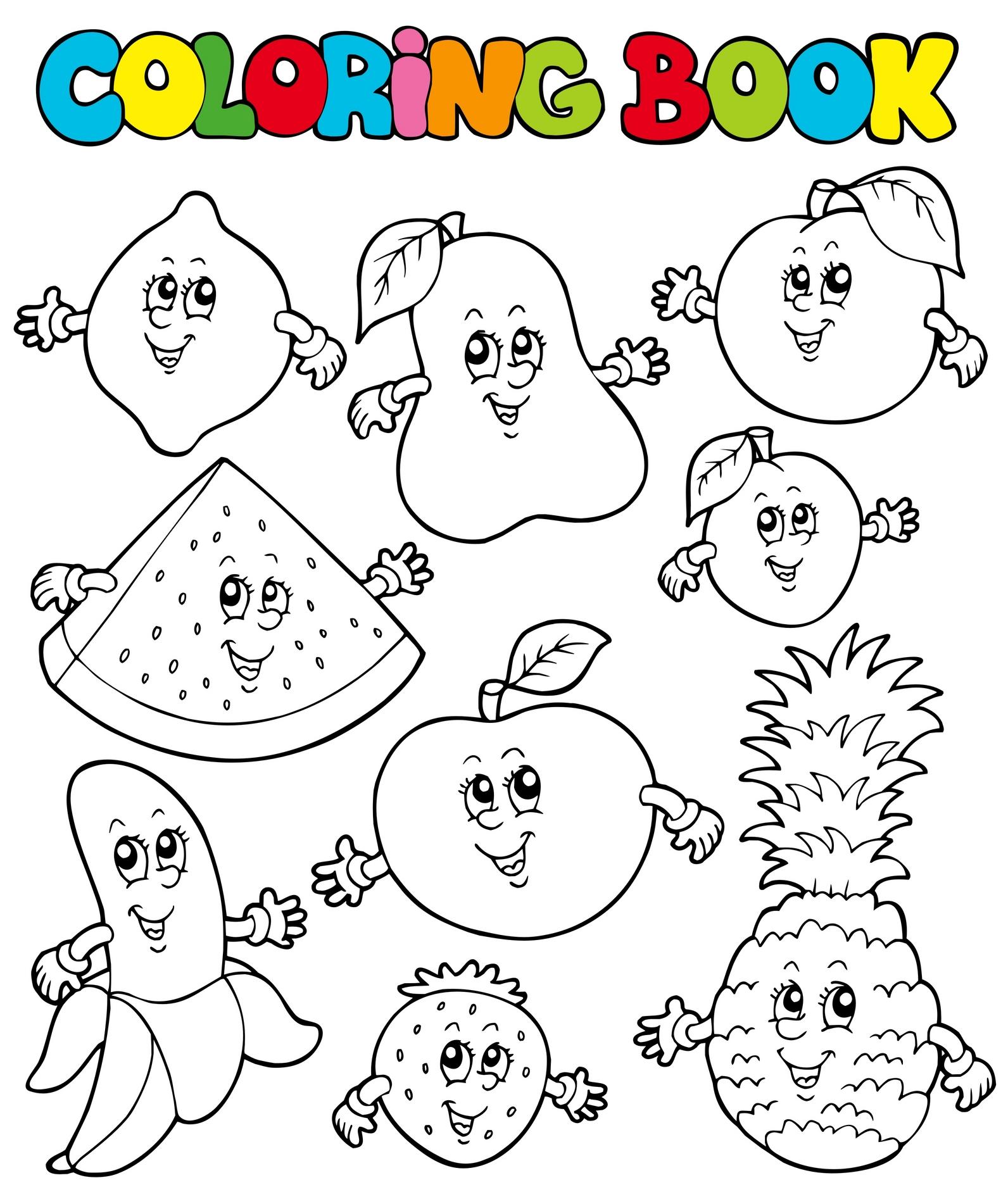 Planse De Colorat Pentru Copii Fructe Vesele