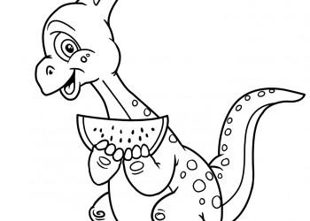 sfatulparintilor.ro planse de colorat, dinozaur cu pepene