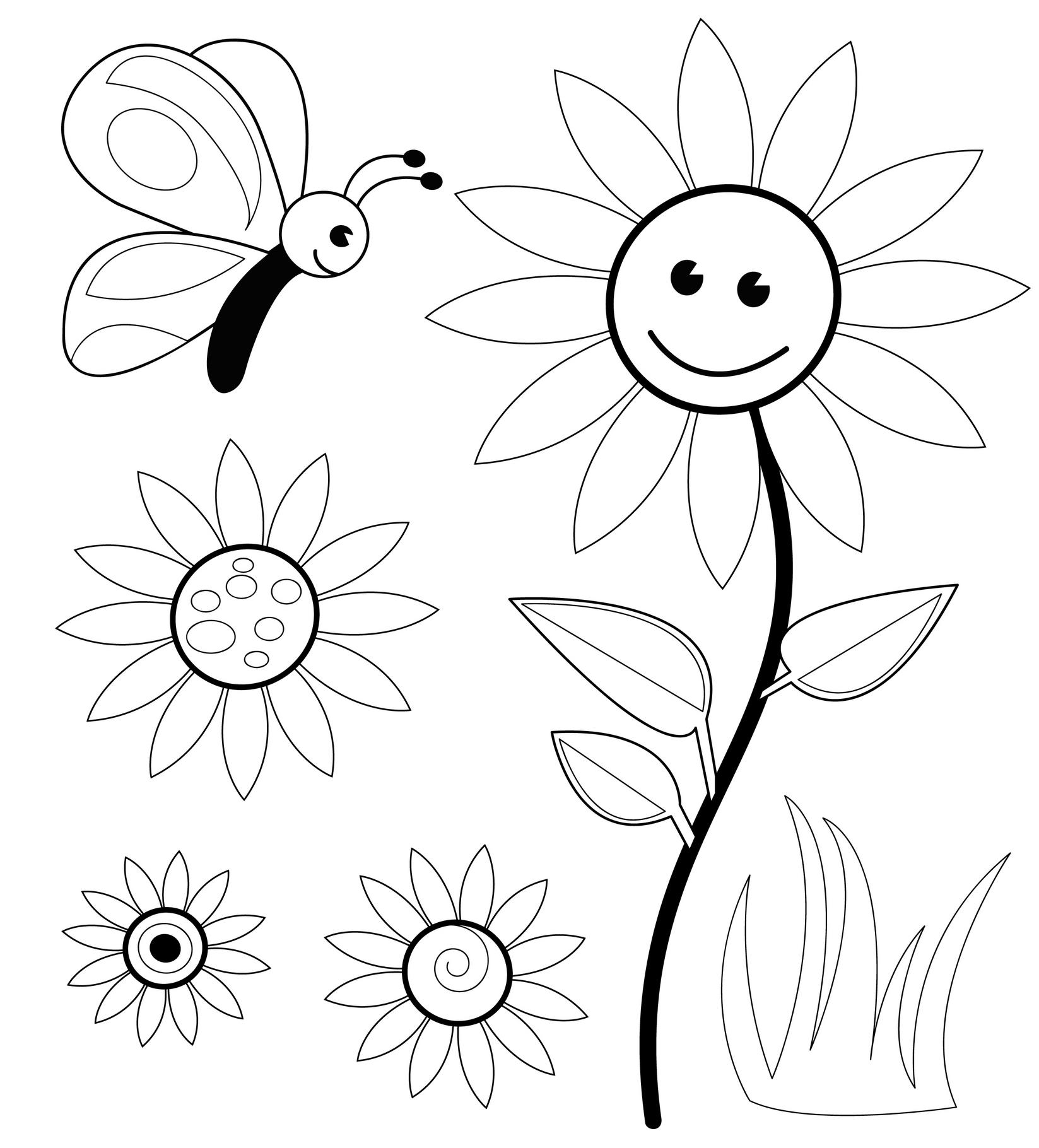 Planse De Colorat Pentru Copii Floarea Vesela