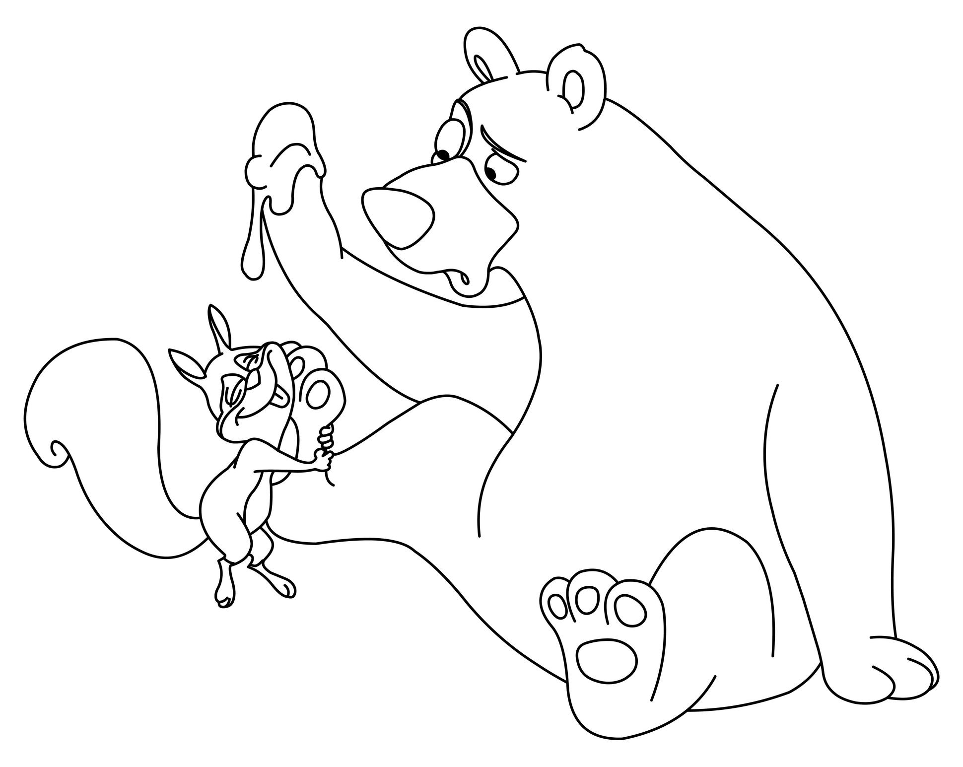 Planse De Colorat Cu Animale Ursul Si Veverita