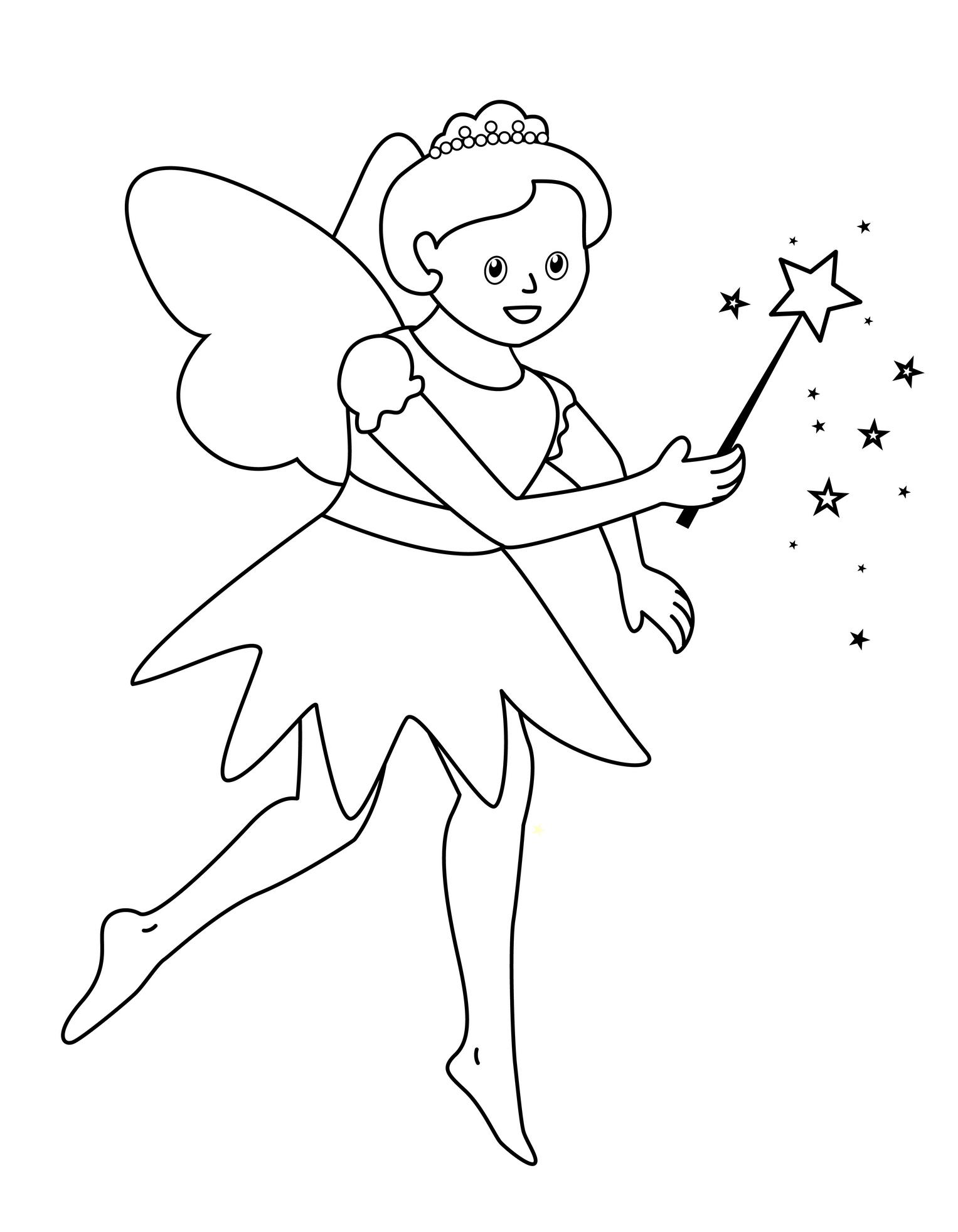 Planse De Colorat Pentru Copii Zana Buna Vesela