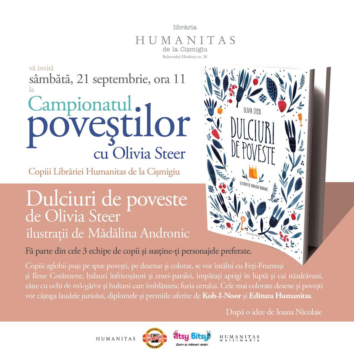 Libraria Humanitas de la Cismigiu va invita sambata, 21 septembrie, ora 11:00, la o noua editie a Campionatului Povestilor cu Olivia Steer.