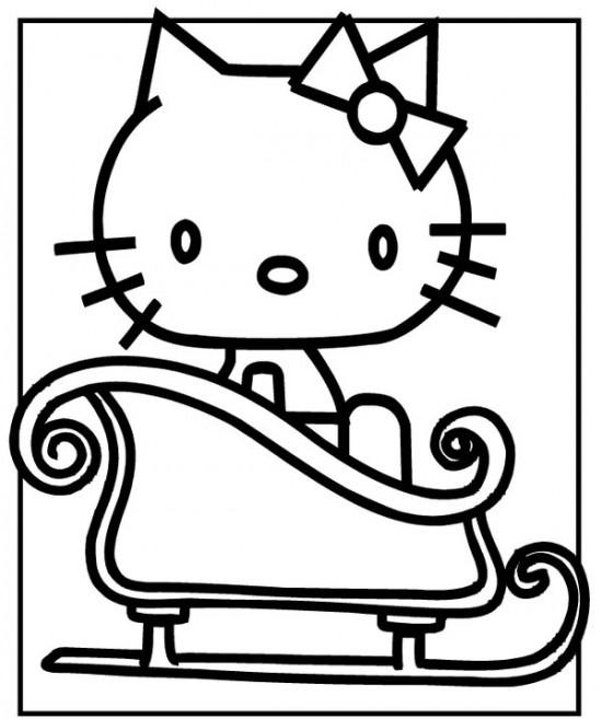 Planse Si Desene De Colorat Pentru Craciun Hello Kitty Si