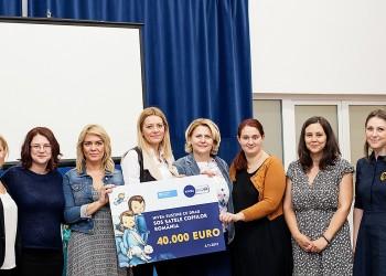 NIVEA susţine Asociaţia SOS Satele Satele Copiilor România cu suma de 40.000 Euro, bani care vor fi direcţionaţi către proiectele de prevenire a separării copiilor de părinţi, implementate prin intermediul SOS Centrele de Consiliere şi Sprijin pentru Copii şi Părinţi.