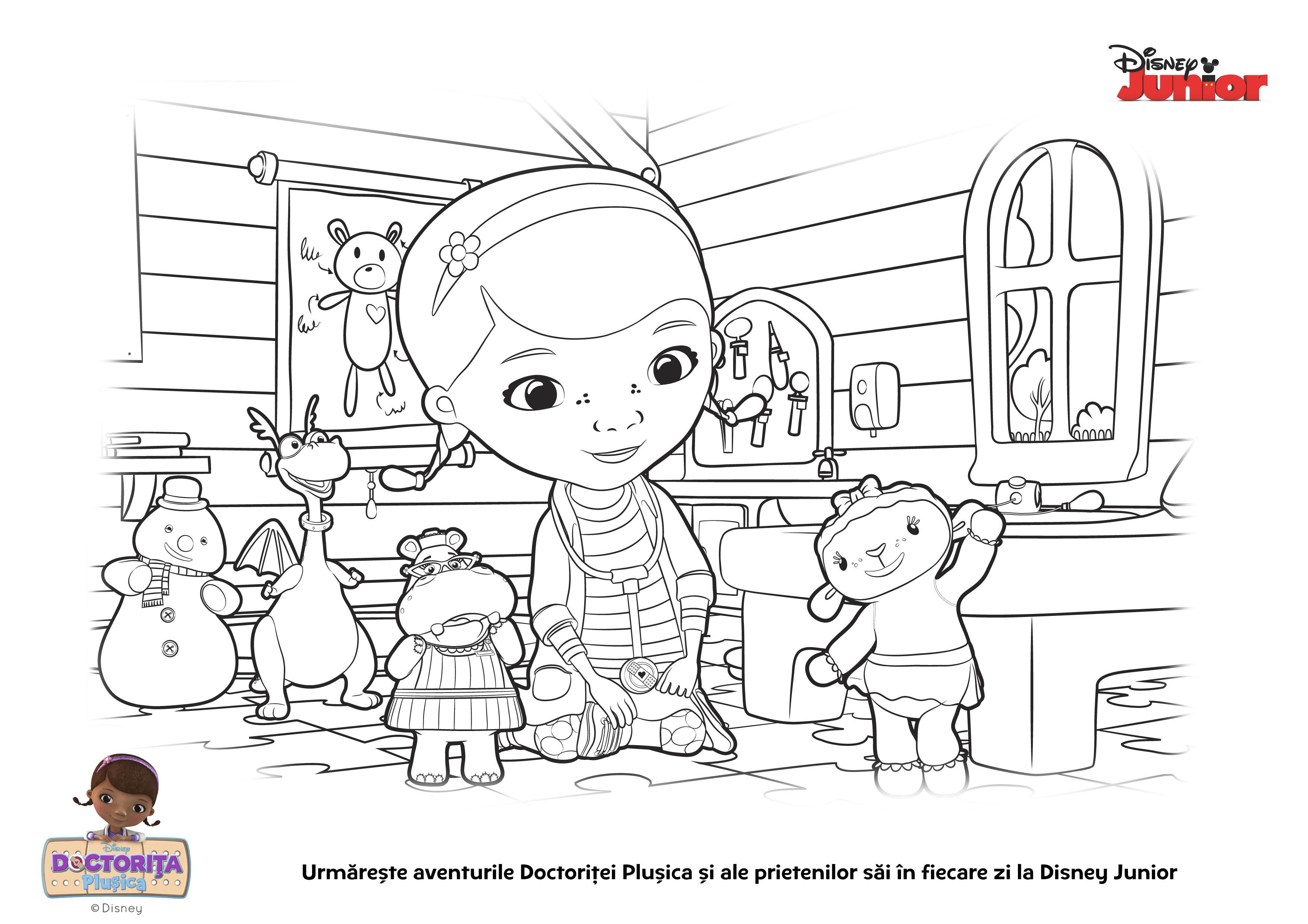 Planse De Colorat Pentru Copii Doctorita Plusica Si