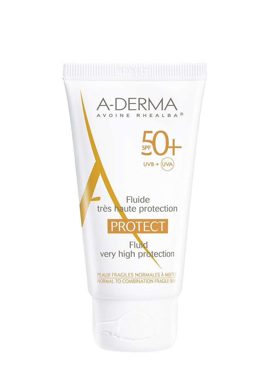 Fluid SPF 50+ A-DERMA PROTECT, 50 ml – pentru pielea fragilă normală-uscată. PRET 62 LEI_