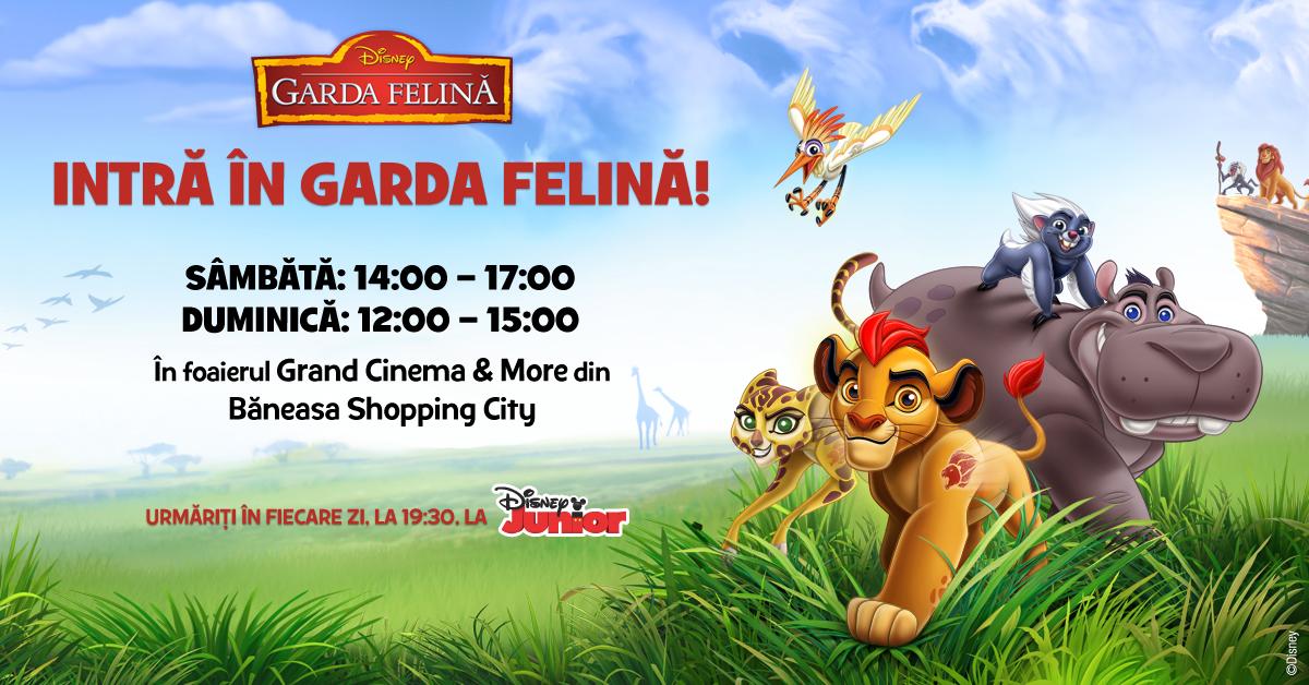 În weekendul 23 – 24 aprilie, cei mai mici fani Disney Junior sunt invitați să se bucure de o serie de activități tematice și să se fotografieze în decorul preferat de Kion și Garda Felină.