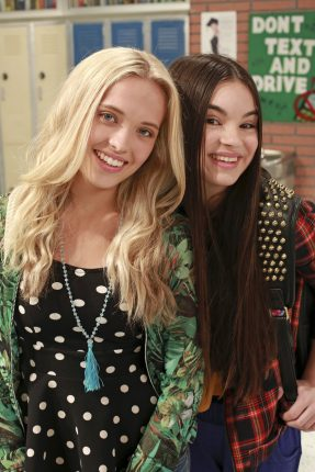 """BEST FRIENDS WHENEVER - """"A Time to Travel"""" - Best friends Shelby and Cyd gain the unpredictable power to travel back and forth in time when one of their friend Barry's science inventions goes awry. With their newfound power, the teen besties try to fix the mishaps that spoiled Shelby's plans to ask her crush Cameron out to the school dance. This episode of """"Best Friends Whenever"""" airs Friday, June 26 (9:53 PM - 10:23 PM ET/PT), on Disney Channel. (Disney Channel/Ron Tom) LAUREN TAYLOR, LANDRY BENDER"""