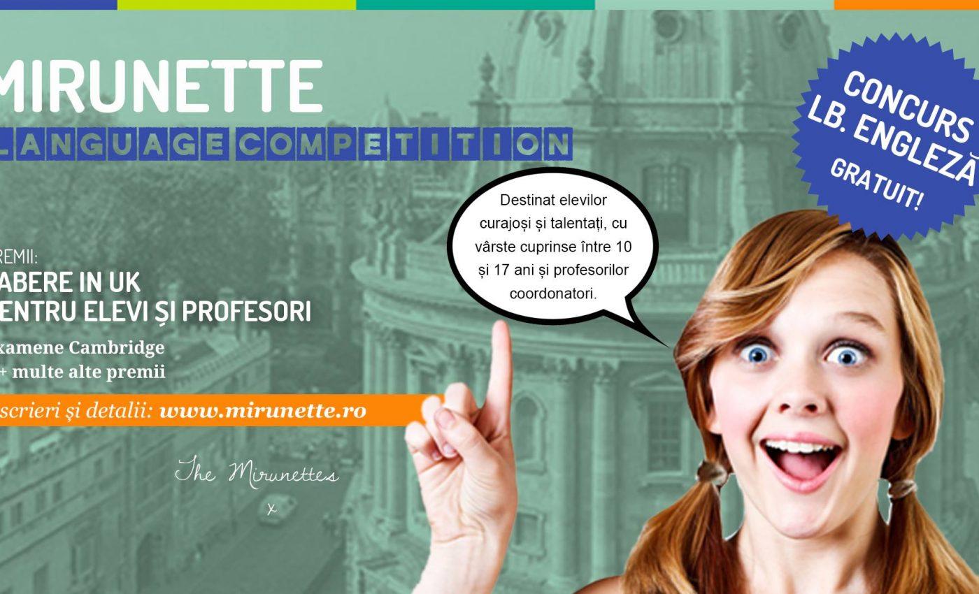 Elevii din școlile generale și licee au șansa de a câștiga o tabără de limba engleză cu participare gratuită în UK. Concursul de proiecte Mirunette International Competition se află la a șasea ediție.