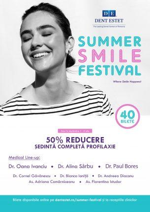 Între 2 iulie și 2 septembrie, Dent Estet găzduiește Summer Smile Festival, un eveniment destinat atât pacienților noi, cât și celor existenți.